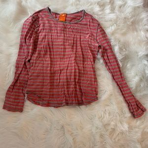 Gray and pinkish red striped shirt